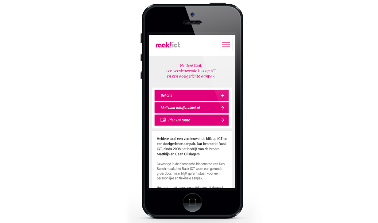 Raak ICT Mobiele website